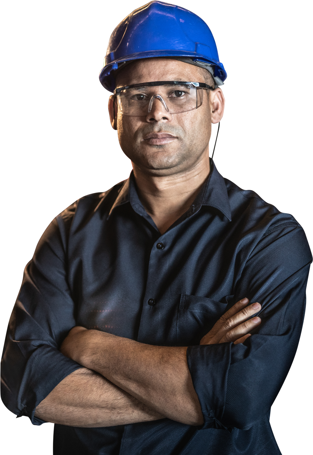 Photo of a man wearing a blue hard hat